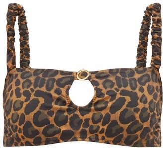 Fisch Carambole Keyhole-front Leopard-print Bikini Top - Leopard