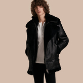Burberry Long-line Shearling Aviator Jacket With Zip-out Bib