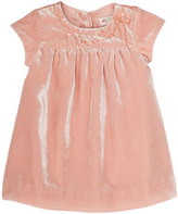 Bonpoint Velvet Flower-Embroidery Babydoll Dress, Size 6 Months-2T