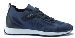 HUGO BOSS Lace Up Sock Trainers With Eva Rubber Sole - Blue