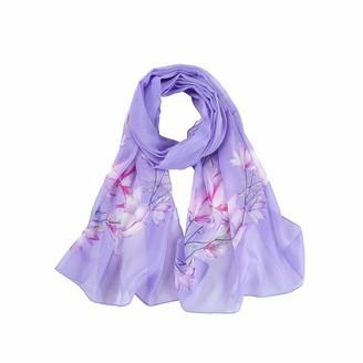 Toamen Scarf Women's Scarf Toamen Chiffon Floral Printed Wrap Scarves