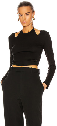 Dion Lee Double Tie Jersey Long Sleeve Top in Black   FWRD
