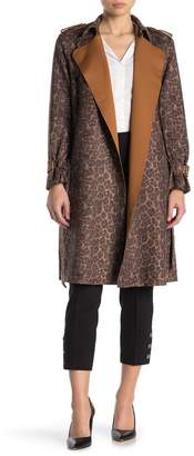 Catherine Malandrino Faux Suede Leopard Trench Coat