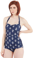 Bathing Beauty One-Piece Swimsuit in Navy Anchors in 4