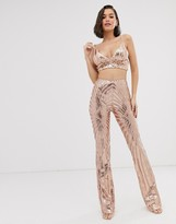 New Age Rebel sequin embellished cropped top and flared trouser set