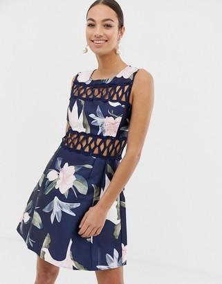 AX Paris floral skater dress-Navy
