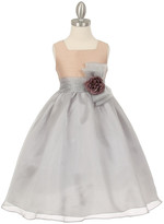 Couture Cinderella Girls' Special Occasion Dresses Champagne/Silver - Champagne & Silver Flower-Accent A-Line Dress - Toddler & Girls