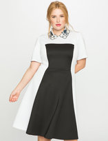 ELOQUII Plus Size Embellished Collar Fit and Flare Dress