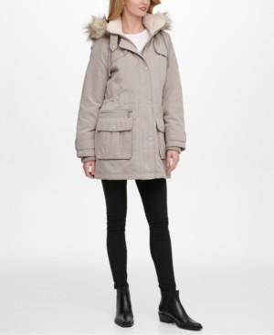 DKNY Petite Faux-Fur Trim Hooded Anorak