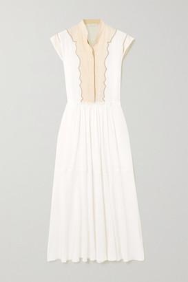 Chloé Silk Crepe De Chine And Linen Midi Dress - White