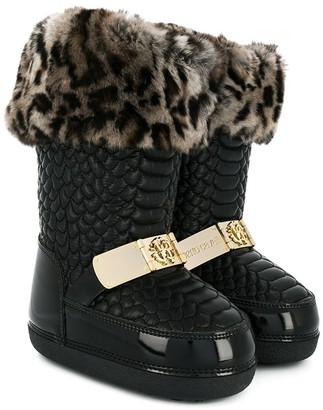 Roberto Cavalli Junior Snake Embossed Leopard Trim Snow Boots