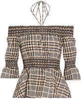 Ganni Charron Off-the-shoulder Checked Cotton-blend Seersucker Top - Beige
