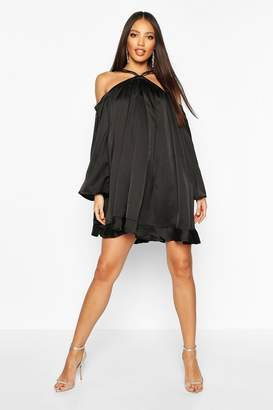 boohoo Satin Strappy Extreme Wide Sleeve Swing Dress
