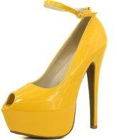 DailyShoes Women's Extreme High Fashion Ankle Strap Peep Toe Hidden Platform Sexy Stiletto High Heel Pump Shoes BlackRedPatent-07