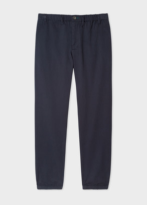 Men's Navy Stretch-Cotton Twill Trousers