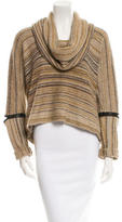 Yigal Azrouel Leather-Trimmed Sweater