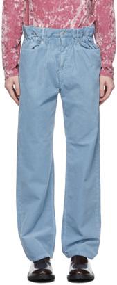 Dries Van Noten Blue Corduroy Elasticized Waist Trousers