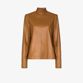 Joseph Bibo high neck leather blouse