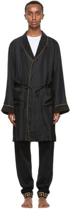 Versace Underwear Black Silk Dressing Gown