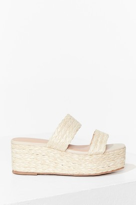 Nasty Gal Womens At a Paper Date Straw Platform Sandals - Beige - 4