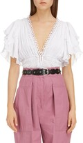 Isabel Marant Flutter Sleeve Peplum Cotton Blouse