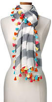 Lands' End Women's Tassel Scarf-Umbrella Stripe