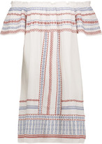 Chelsea Flower Off-the-shoulder embroidered cotton dress