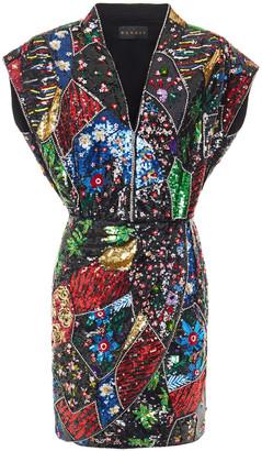 Dundas Embellished Sequined Silk Crepe De Chine Mini Dress