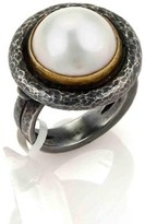 Gurhan Madison Darkened Sterling Silver & Pearl Solitaire Ring Size 6.5