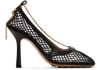 Bottega Veneta Black Net Chain Heels