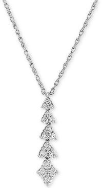 """Forever Grown Diamonds Lab Created Diamond Linear Cluster 18"""" Pendant Necklace (1/2 ct. t.w.) in Sterling Silver"""