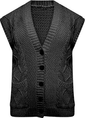 DIGITAL SPOT Womens Cable Knitted Sleeveless Button Pocket Cardigan Ladies Grandad Fancy Waistcoat Black UK 24-26