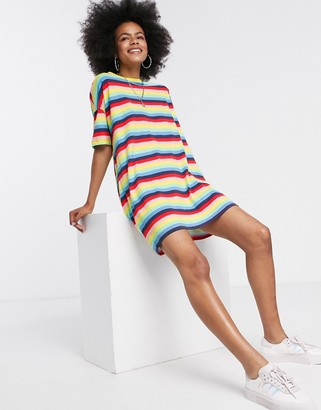 Noisy May oversized t-shirt in rainbow stripe