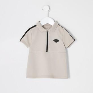 Maison Riviera River Island Mini boys Beige tape half zip polo shirt
