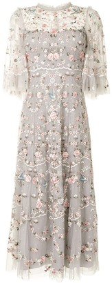 Needle & Thread Floral Embroidery Tulle Midi Dress