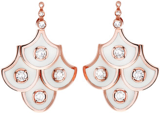 Selim Mouzannar Diamond and Ivory Enamel Scales Mini Chandelier Earrings - Rose Gold