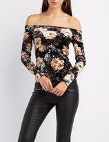 Charlotte Russe Floral Velvet Off-The-Shoulder Top