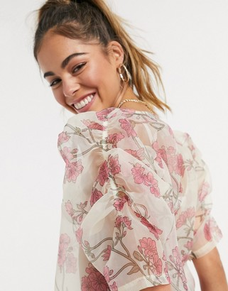 Vero Moda organza blouse with volume sleeves in cream floral