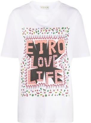 Etro short sleeve printed slogan T-shirt