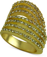 GUESS Gold-Tone Pavé Multi-Row Ring