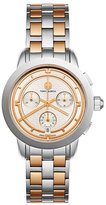 Tory Burch The Tory Classic Two-Tone Chronograph Watch, Rose/Silvertone