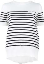 Sacai striped cupro insert T-shirt - women - Cotton/Polyester/Cupro - 2