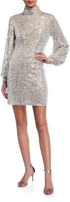 ONE33 SOCIAL Long-Sleeve Sequin Mock-Neck Cocktail Dress