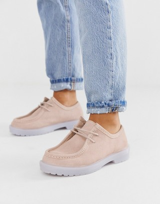 Asos Design DESIGN Morocco leather chunky lace up flat shoes in pink