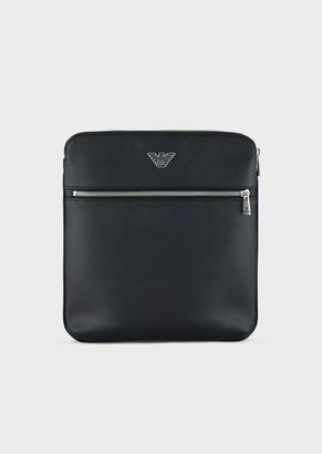 Emporio Armani Flat Bag In Faux Leather With Adjustable, Logoed Strap