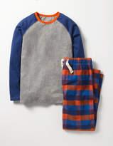 Pyjama Set Klein Blue Rainbow Check Boys Boden
