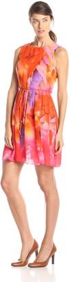 Sandra Darren Women's Floral Printed High Neck Dress