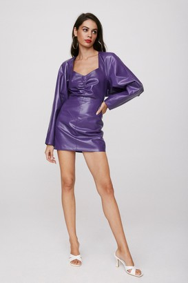 Nasty Gal Womens Take the Lead Faux Leather Mini Dress - Purple