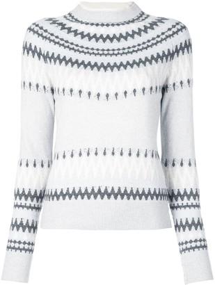 Adam Lippes Crew Neck Fairisle Print Cashmere Sweater