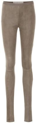 Rick Owens Cotton-blend suede leggings